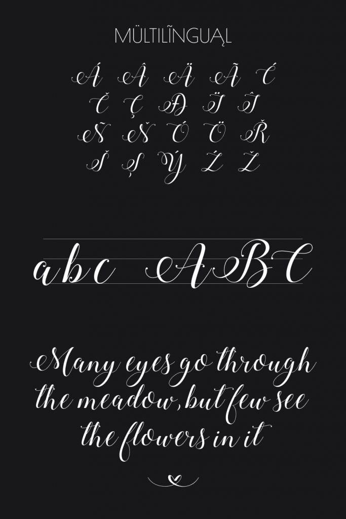 Pinterest preview free calligraphy font by MasterBundles.