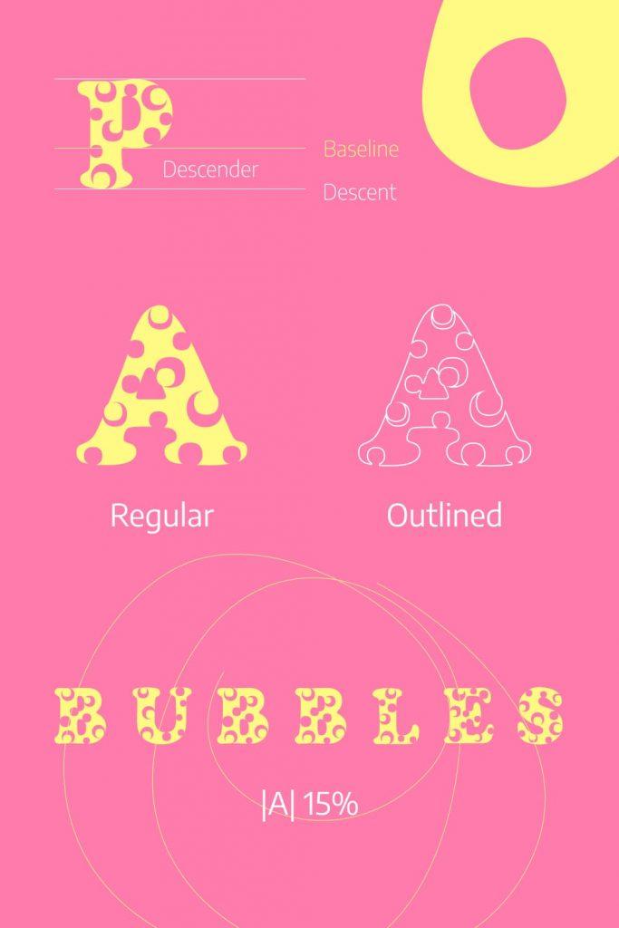 Bubble free font Pinterest preview.
