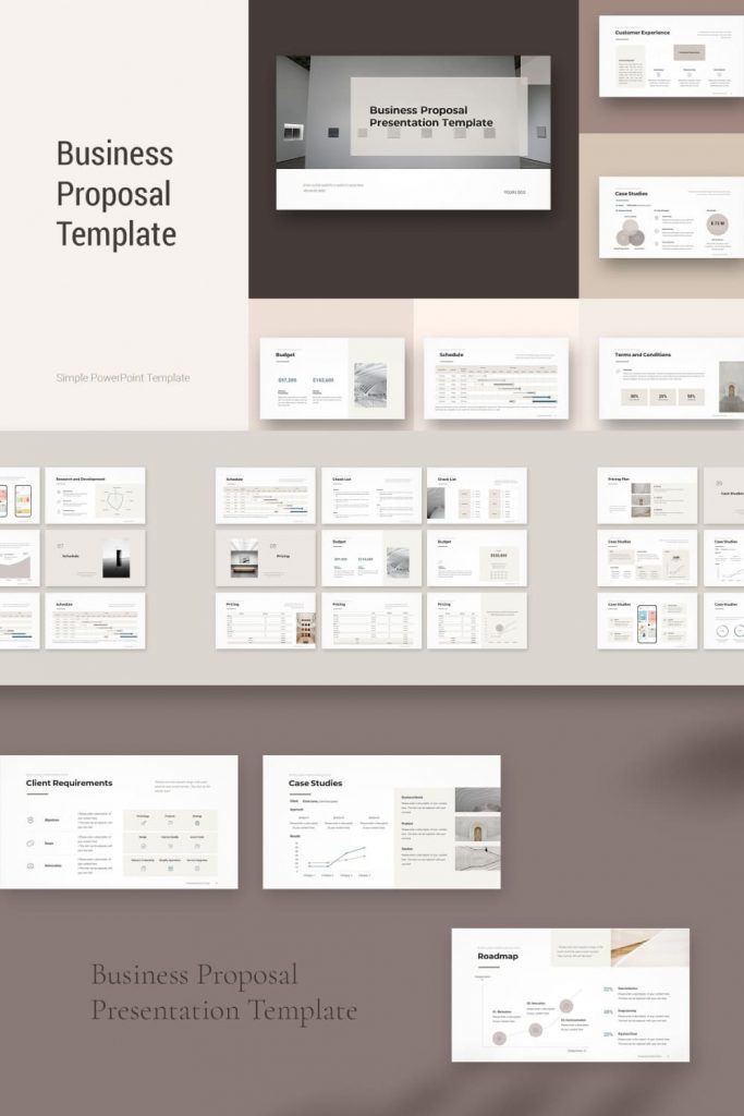 Business Proposal Template 2021 by MasterBundles Pinterest Collage Image.