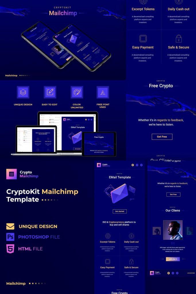 Crypto MailChimp by MasterBundles Pinterest Collage Image.