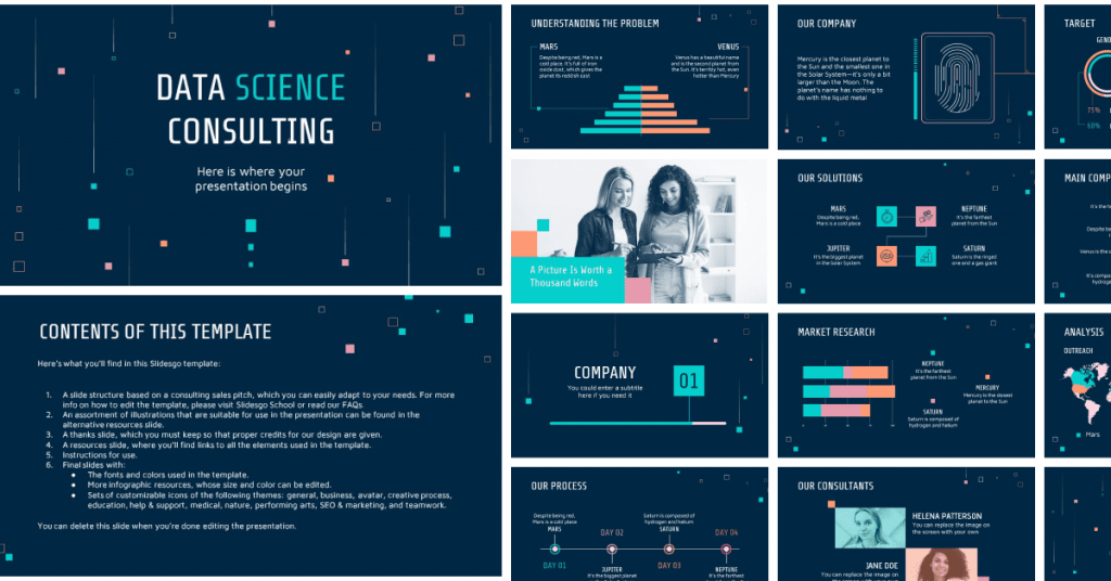 Dark blue background with bright infographics in orange and green color.