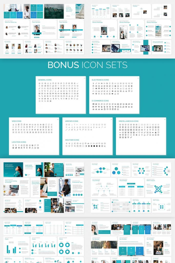 EMPOWER PowerPoint Template by MasterBundles Pinterest Collage Image.