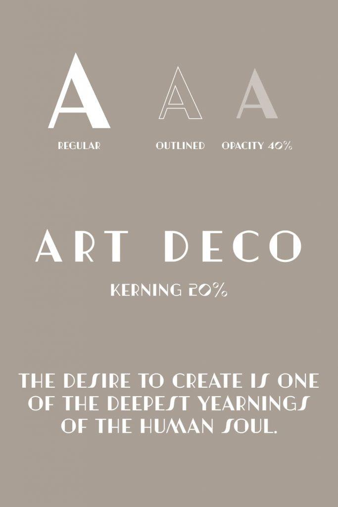 Pinterest font example Free art deco font Artisual Deco.