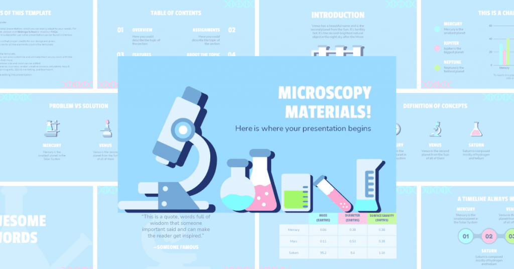 The template is created in blue with themed attributes - test tubes, microscope, etc.