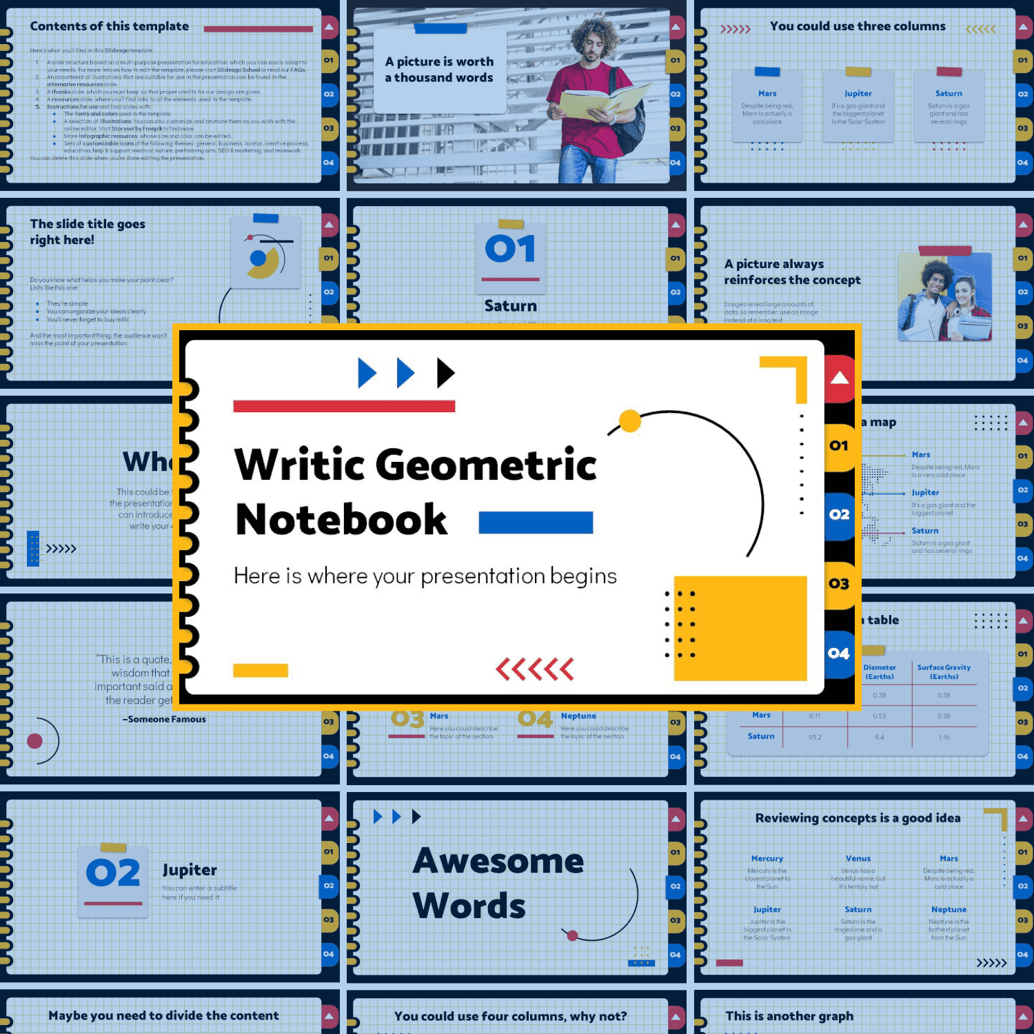 Collage cover image for Writic Geometric Notebook Presentation Template MasterBundles.