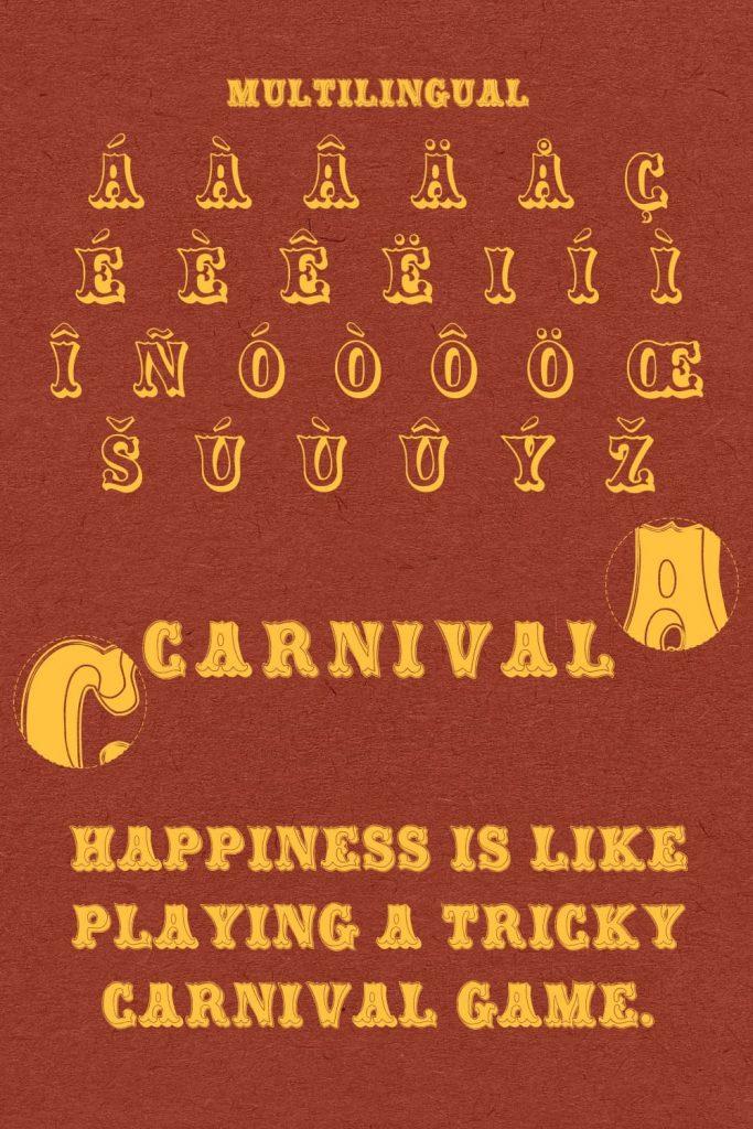 MasterBundles Pinterest image carnival font free.