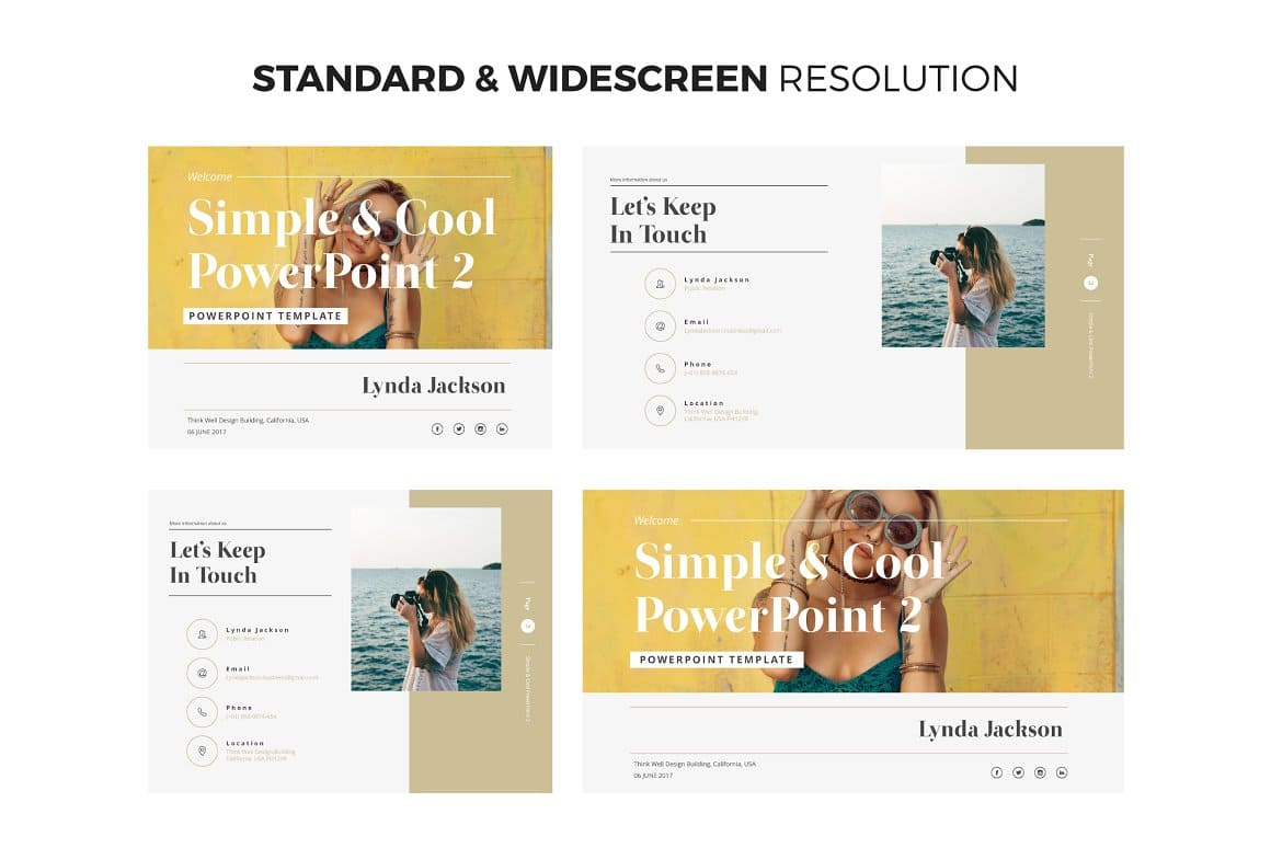 Standard and widescreen resolution Simple & Cool PowerPoint Template 2.