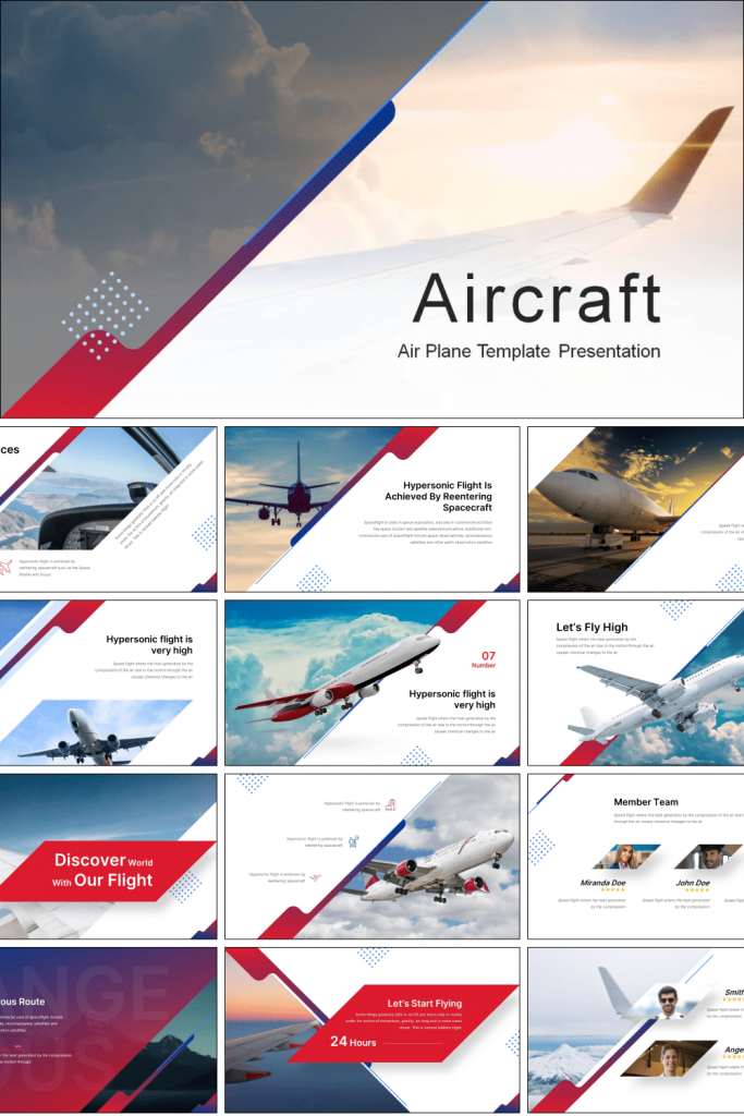 Aircraft  Presentation: Powerpoint, Keynote, Google Slides by MasterBundles Pinterest Collage Image.