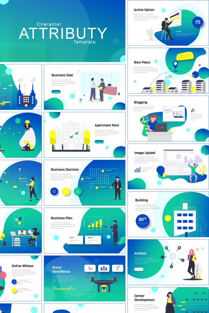 Blue Presentation: Powerpoint, Keynote, Google Slides by MasterBundles Pinterest  Collage Image.
