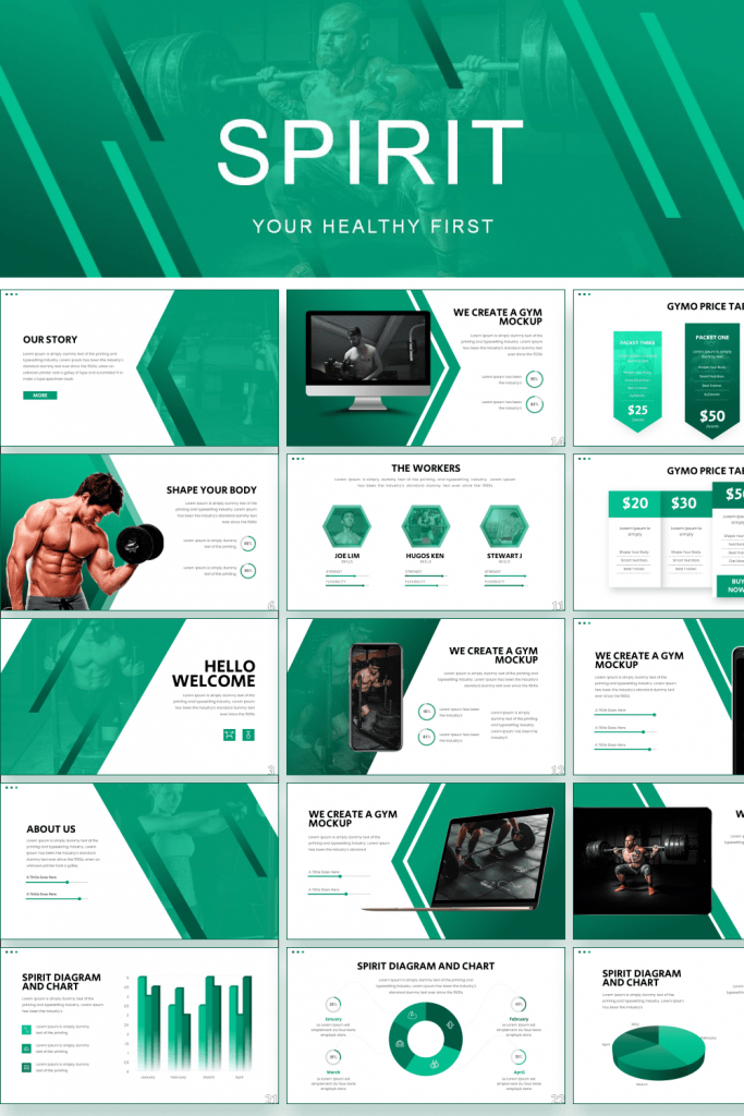 Health Presentation: Powerpoint, Keynote, Google Slides by MasterBundles Pinterest Collage Image.