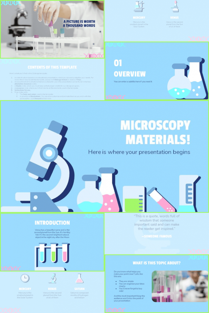 The presentation was created with vivid illustrations on the topic of applied chemistry.