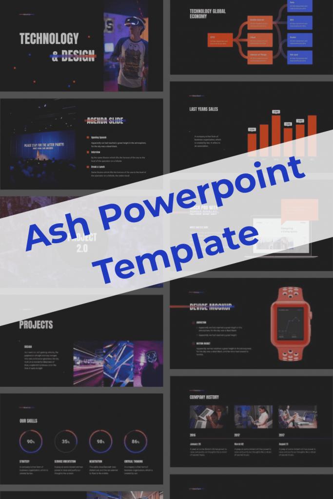 Ash - Smooth Animated Presentation by MasterBundles Pinterest Collage Image.