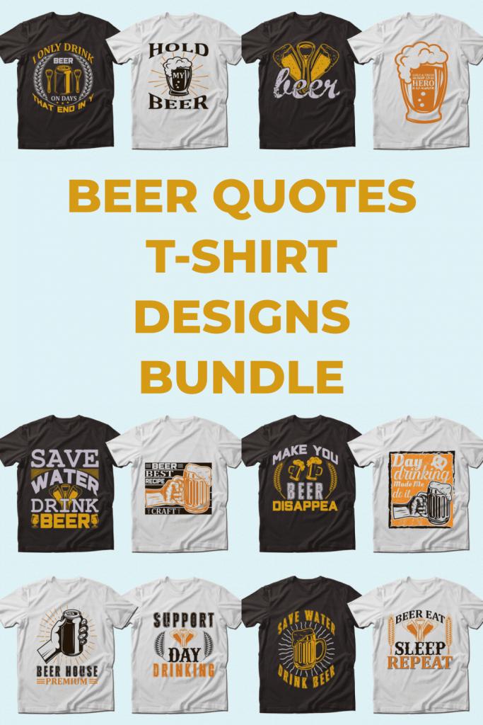 Trendy 20 Beer Quotes T-shirt Designs Bundle by MasterBundles Pinterest Collage Image.