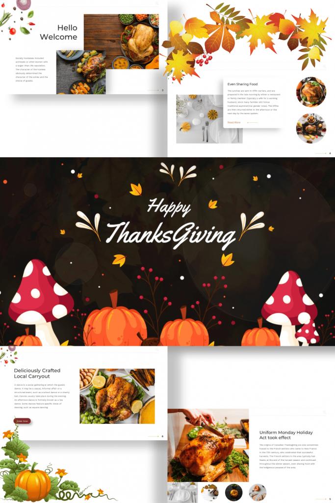 Thanksgiving Presentation: Powerpoint, Keynote, Google Slides by MasterBundles Pinterest Collage Image.