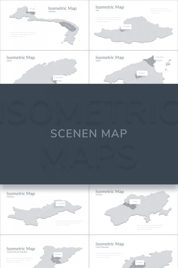 Isometric Map Presentation: Powerpoint, Keynote, Google Slides by MasterBundles Pinterest Collage Image.