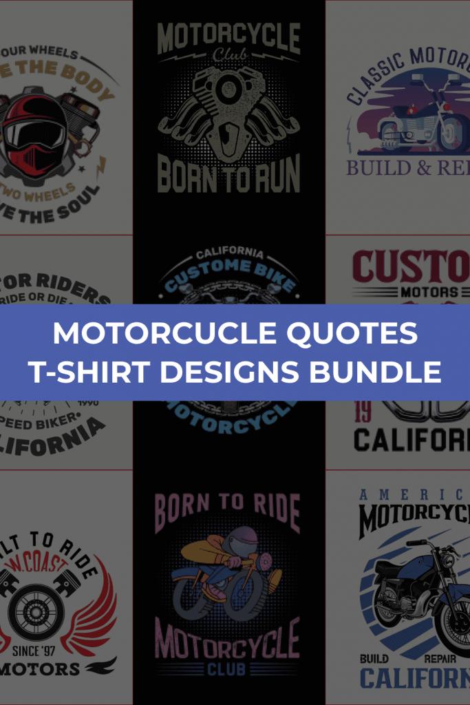 Motorcycle T-shirt Design Bundle by MasterBundles Pinterest Collage Image.