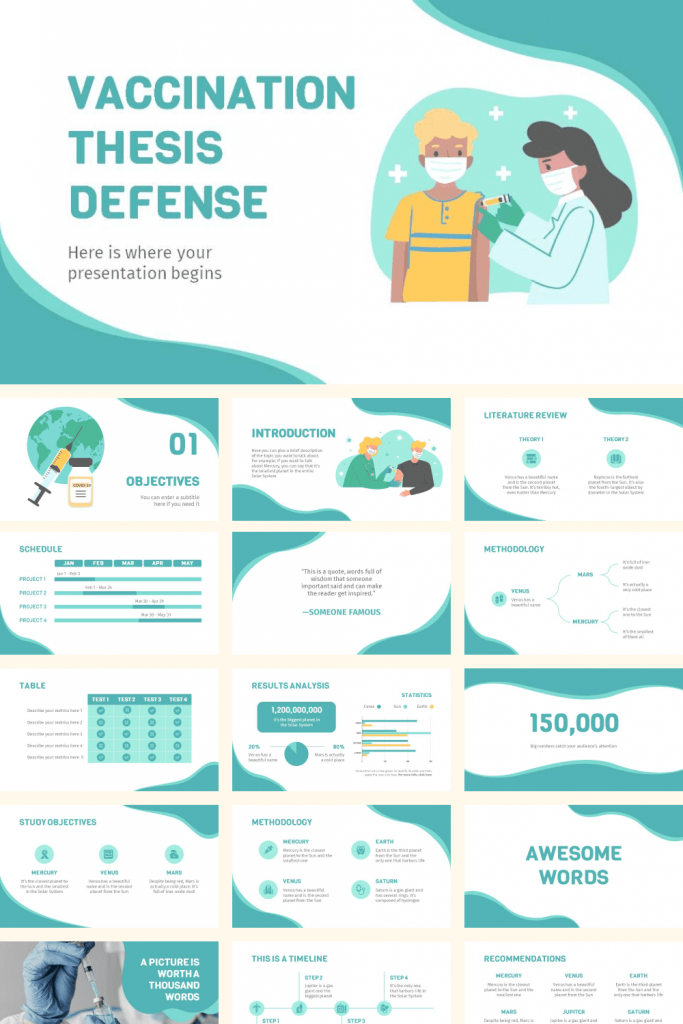 Free Vaccination Thesis Defense Powerpoint Template by MasterBundles Pinterest Collage Image.