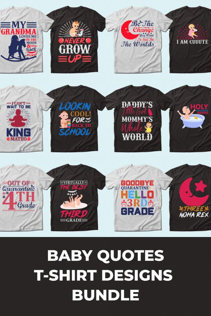 Trendy 20 Baby Quotes T-shirt Designs Bundle by MasterBundles Pinterest Collage Image.
