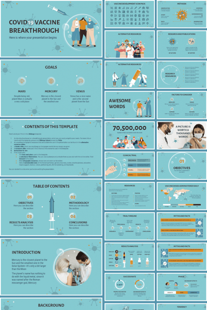 Free COVID-19 Vaccine Breakthrough Powerpoint template by MasterBundles Pinterest Collage Image.