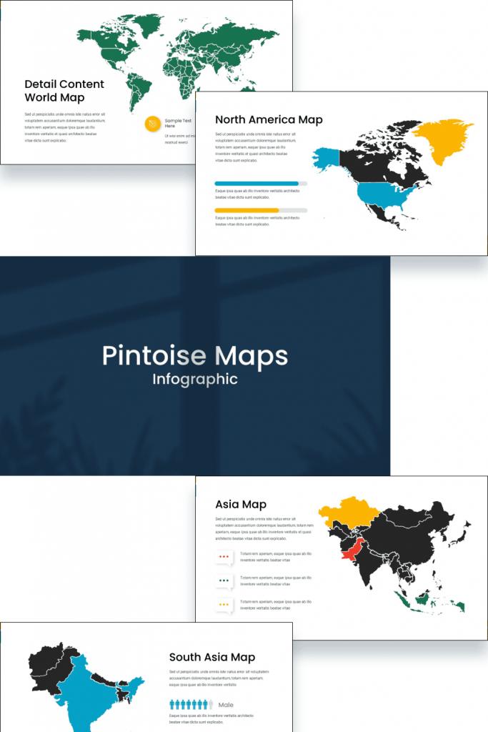 Maps Presentation: Powerpoint, Keynote, Google Slides by MasterBundles Pinterest Collage Image.