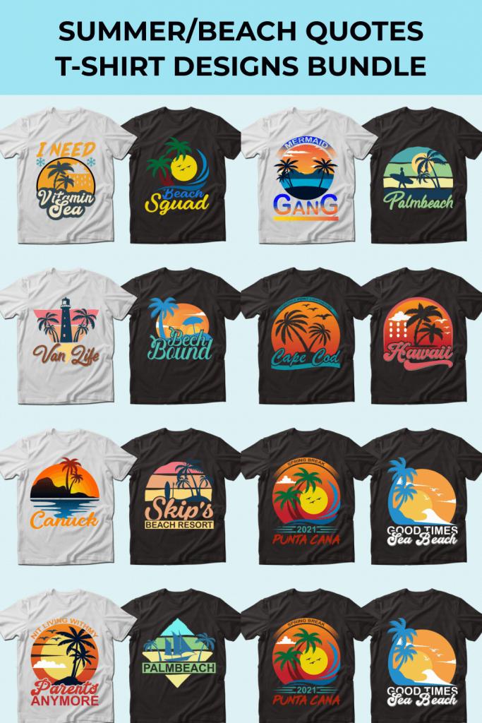 Summer Quotes T-shirt Designs Bundle by MasterBundles Pinterest Collage Image.