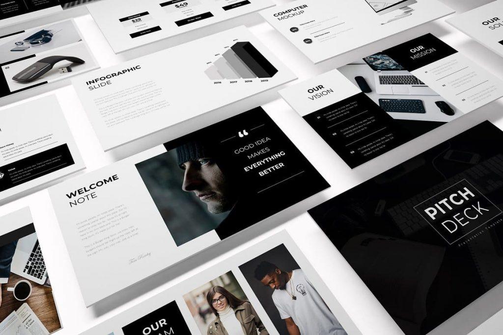 Print ready Pitch Deck presentation template.