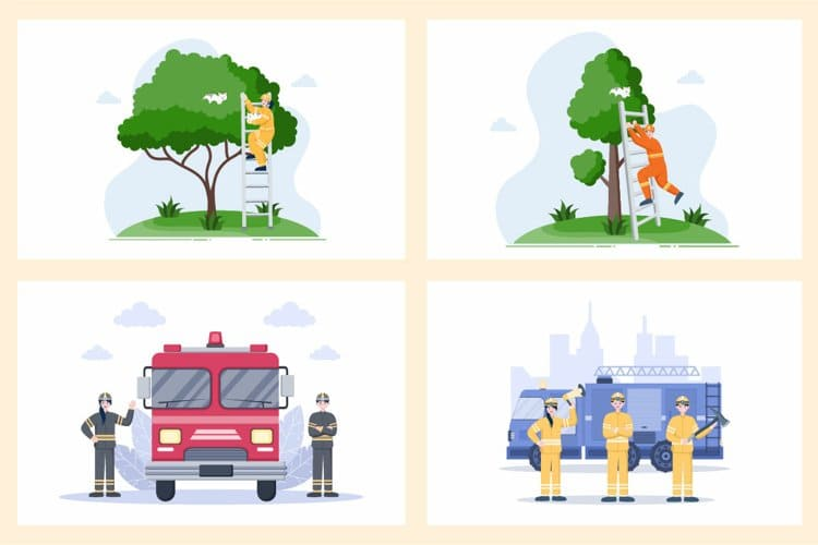 Firefighters Illustration take the cat from the tree.