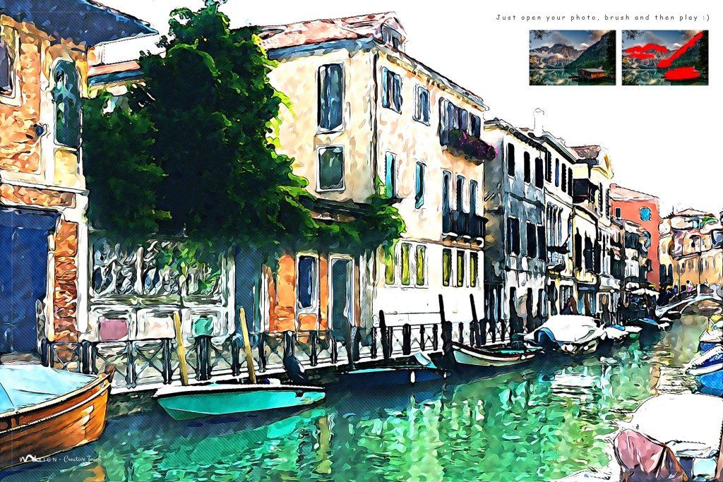 Acrylic Paint Art. Modern Art Painting 19 in 1 Photoshop Action Bundle.