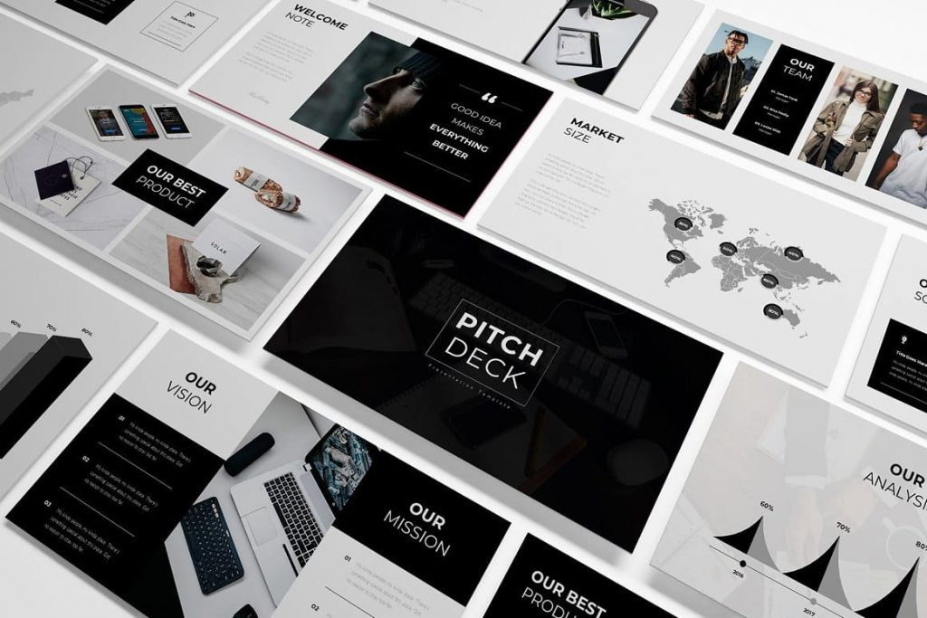 Easy to use Pitch Deck presentation template.