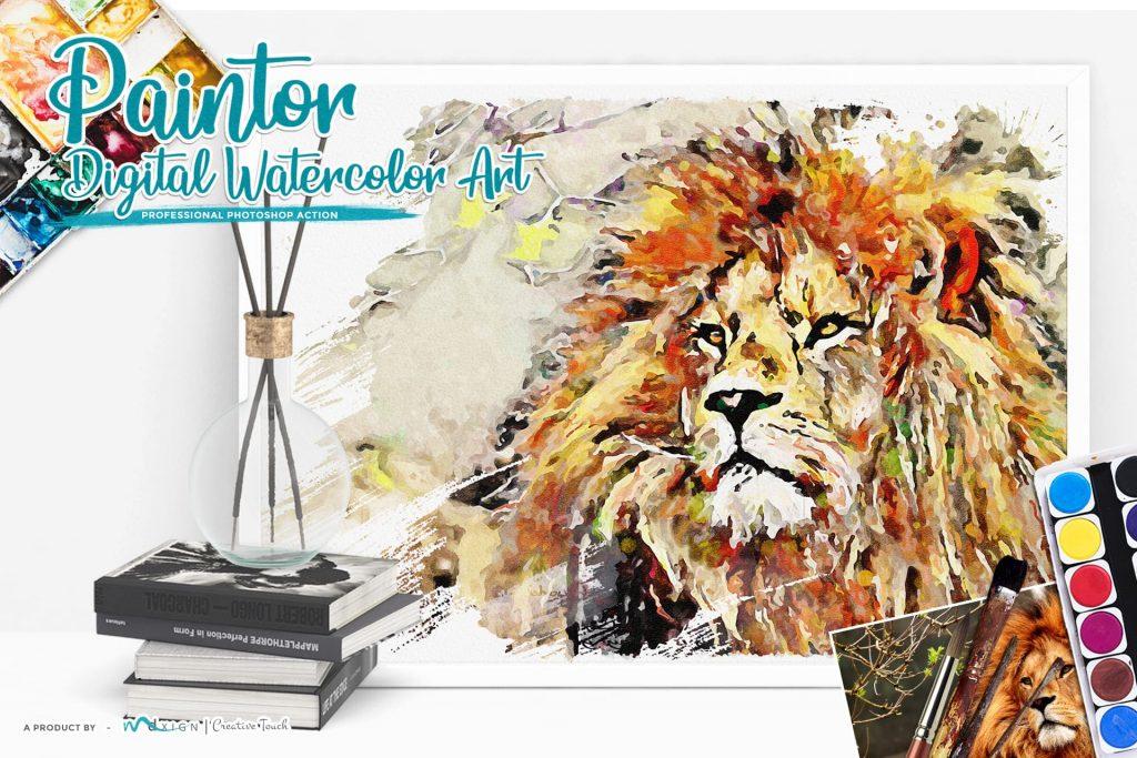 Paintor Digital Watercolor Art Lion. Modern Art Painting.