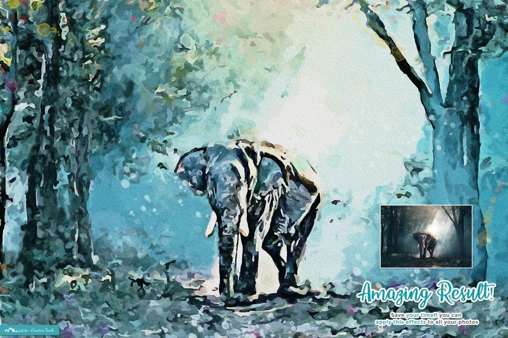 Paintor Digital Watercolor Art. Modern Art Painting 19 in 1 Photoshop Action Bundle.