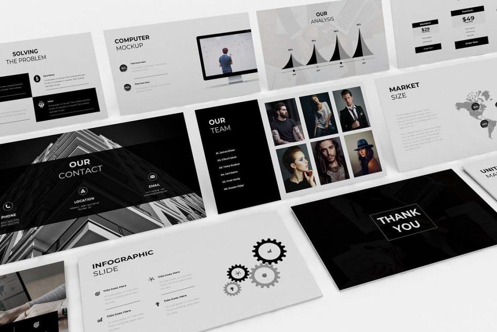 50 unique slides for your Pitch Deck presentation template.