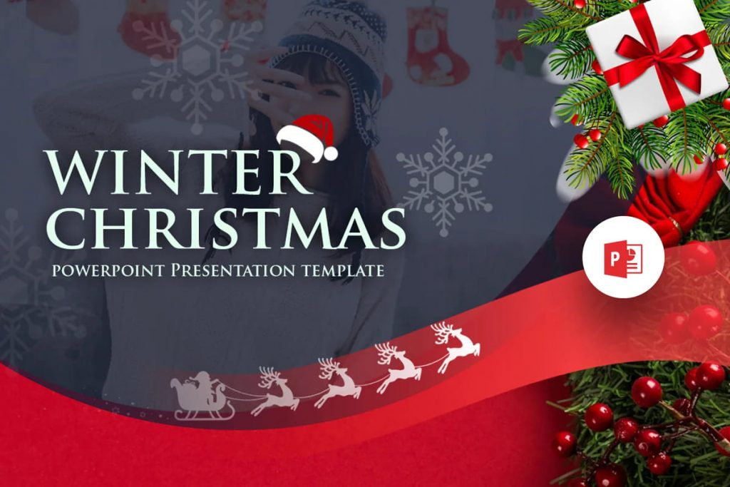 Cover for Winter Christmas PowerPoint Template.