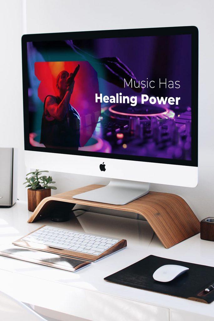50 Slides Music Presentation Template 2021 by MasterBundles Pinterest Collage Image Desktop.