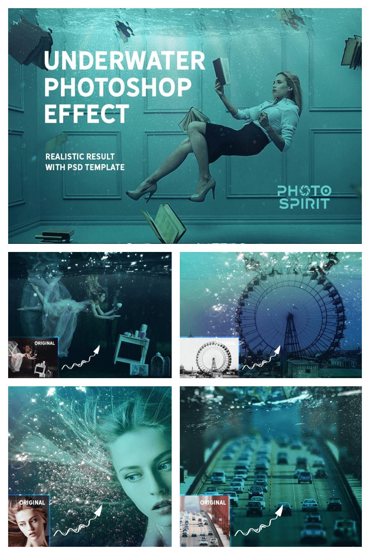 Underwater Effect Photoshop Templates & Textures - MasterBundles - Pinterest Collage Image.