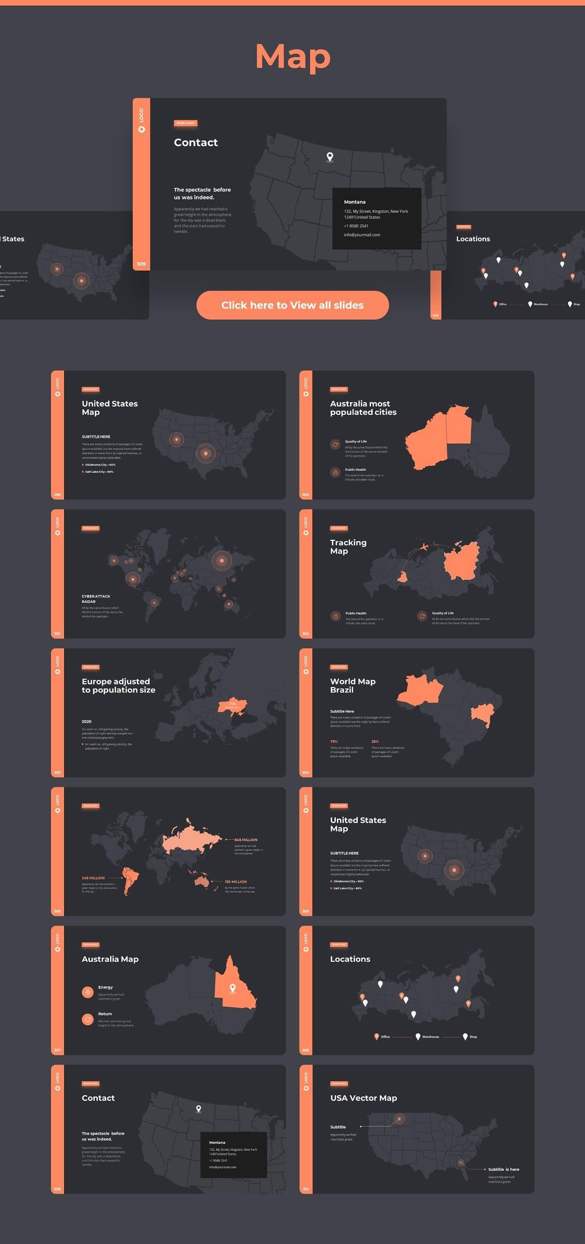 Slides Map Dark theme. Pitch Deck & Presentation V3.0.