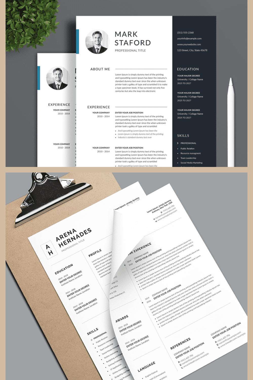 Professional Resume Template - MasterBundles - Pinterest Collage Image.