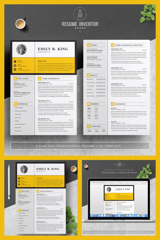 Resume Template / CV Template - MasterBundles - Pinterest Collage Image.