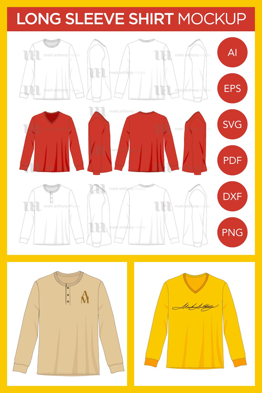 Long Seeve T-Shirt Mockup Template - MasterBundles - Pinterest Collage Image.