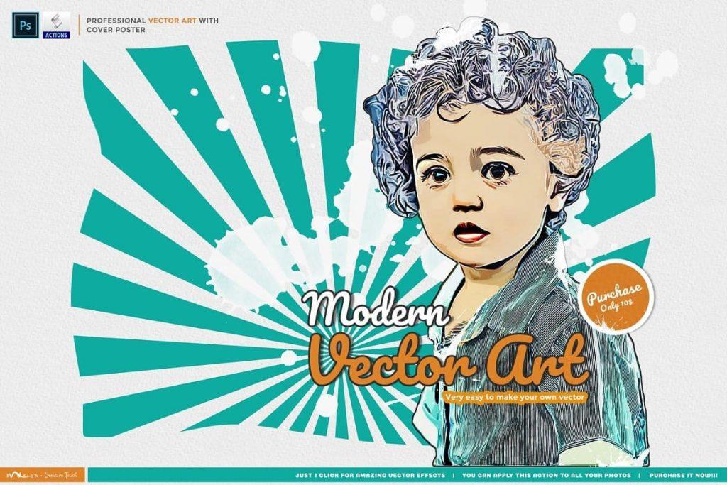 Modern Vector Art PS Action. Modern Art Painting.