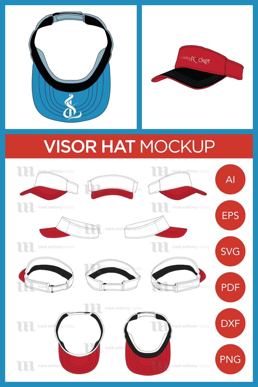 Visor Hat Vector Template - MasterBundles - Pinterest Collage Image.