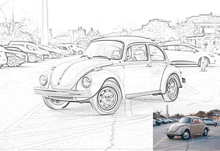 Old Volkswagen Sketch Effect Photoshop. Photos before and after.