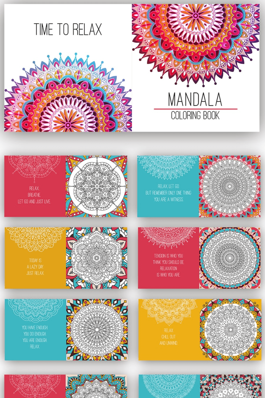 Mandala Coloring Book - MasterBundles - Pinterest Collage Image.