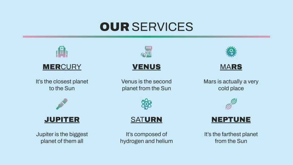 This is a simple slide for everyone to understand what your services are and what you do.