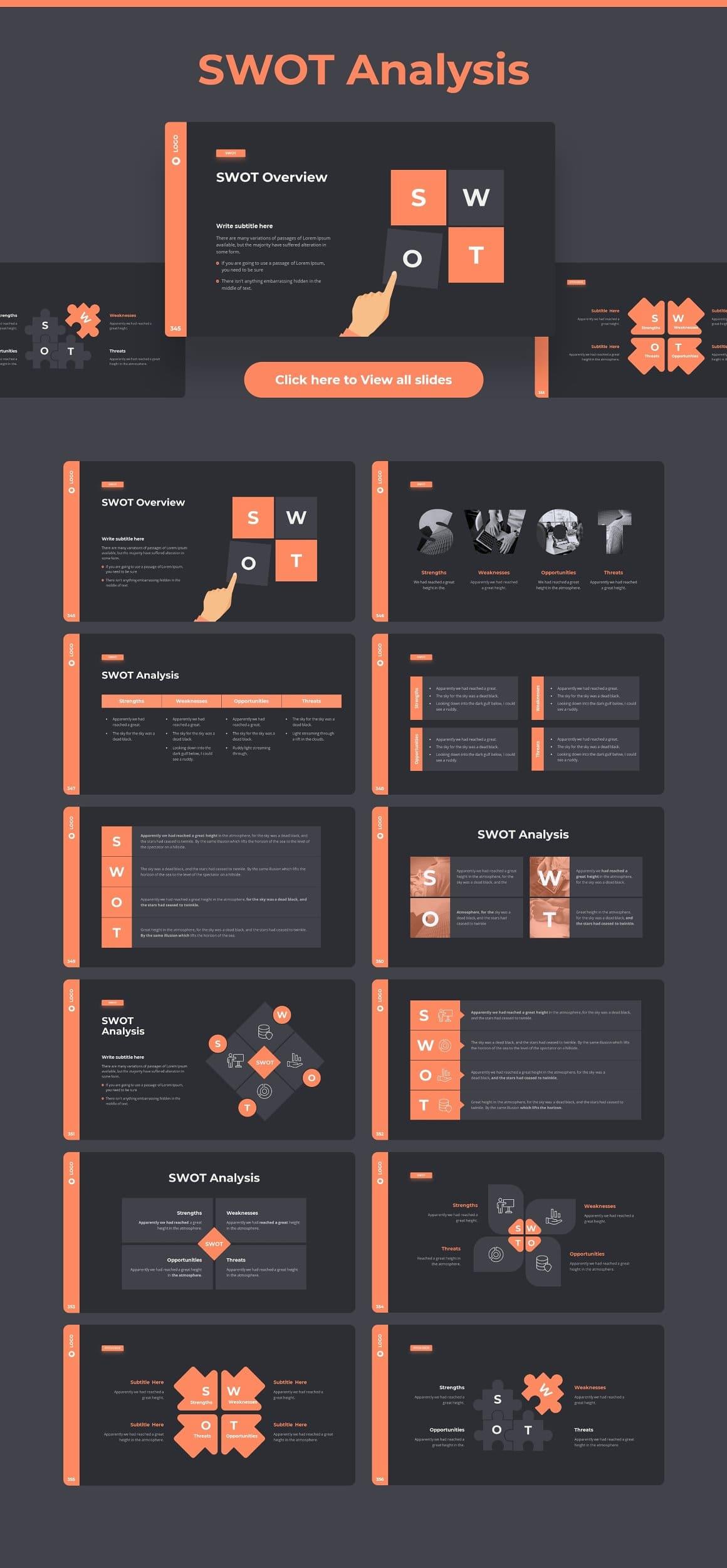 Slides swot analytics Dark theme. Pitch Deck & Presentation V3.0.