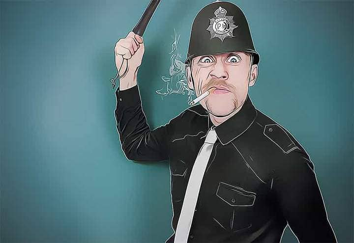 Policeman with a cigarette The Oil Canvas Photoshop.