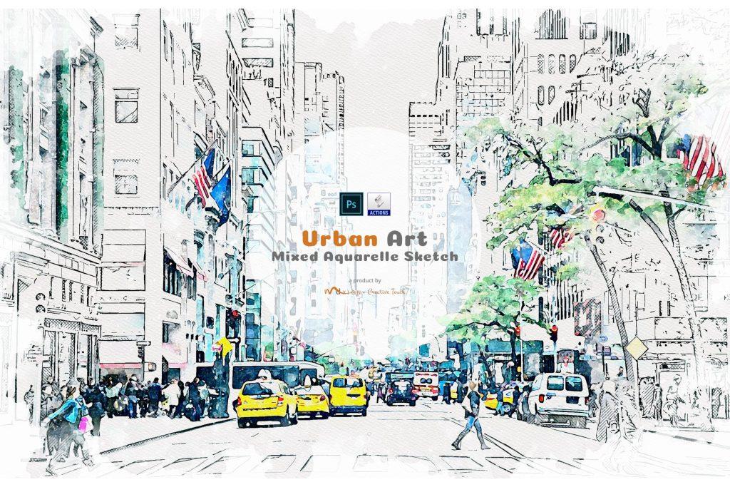 Urban Art Mixed Aquarelle Sketch. Modern Art Painting 19 in 1 Photoshop Action Bundle.
