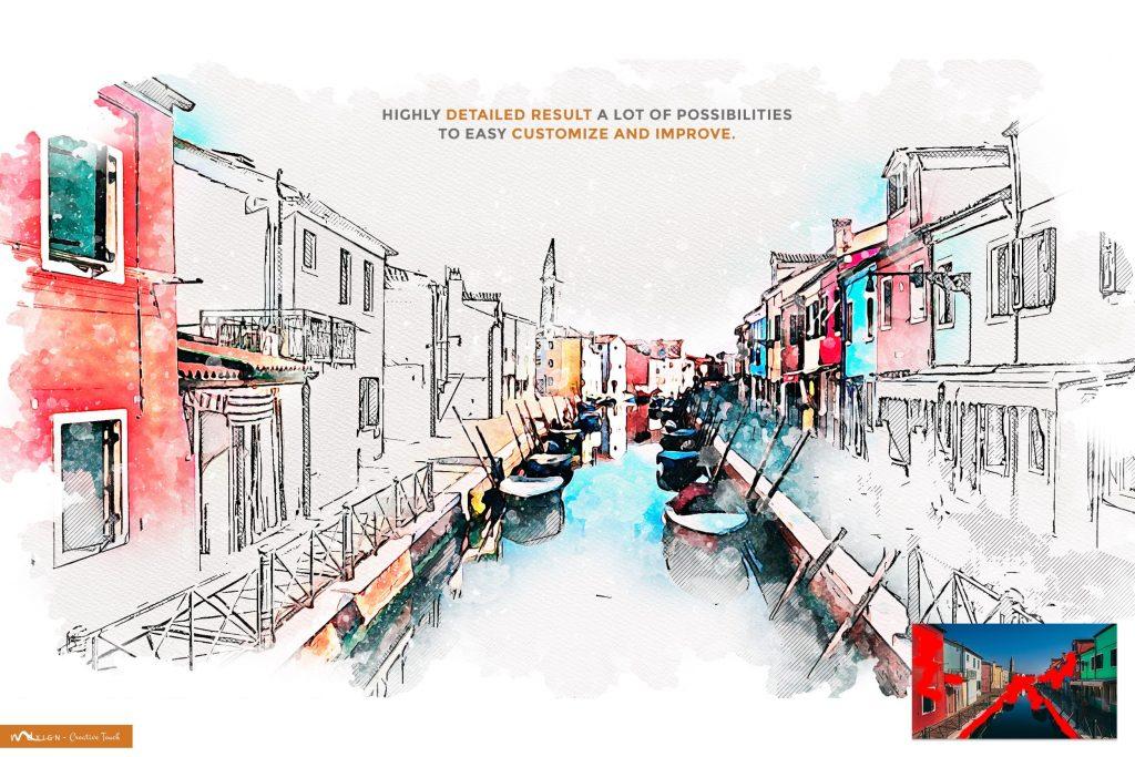 Urban Art Mixed Aquarelle Sketch.