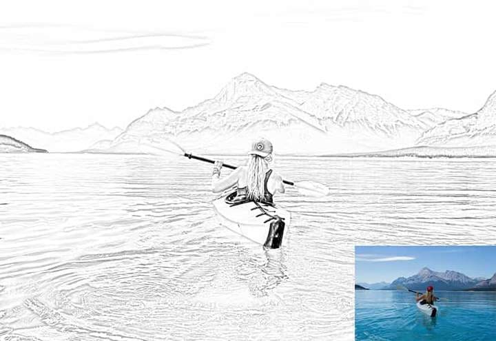 Girl on a canoe on a background of mountains Sketch Effect Photoshop. Photos before and after.
