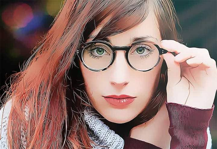 Portrait of a lady with glasses The Oil Canvas Photoshop.